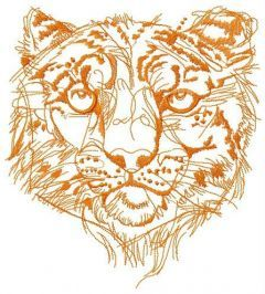 Snow leopard one color embroidery design