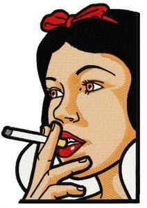 Snow White smoking 2 embroidery design
