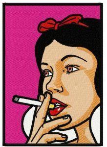 Snow White smoking embroidery design