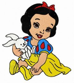 Snow White's childhood embroidery design