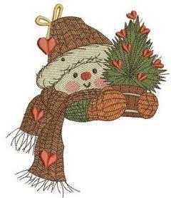 Snowman in love 2 embroidery design