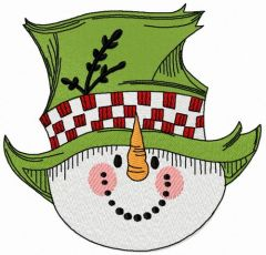 Snowman in top hat 2 embroidery design