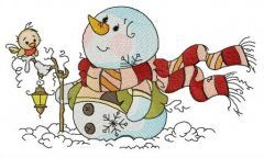 Snowman watching clouds embroidery design