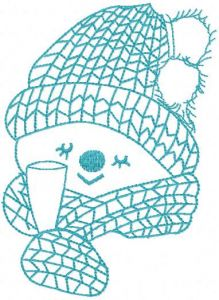 Snowman with glass champagne embroidery design