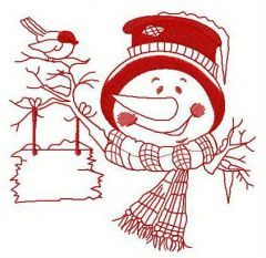 Snowman with wooden sign embroidery design