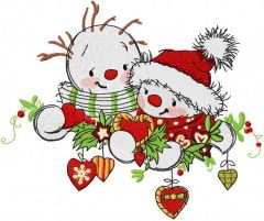 Snowmens meet embroidery design