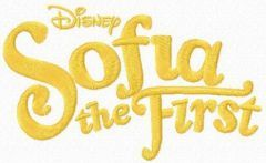 Sofia the First one color logo 2 embroidery design
