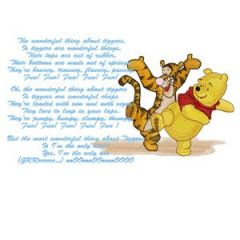Winnie Pooh and Tigger sing a song embroidery design