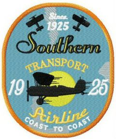 Southen transport airline embroidery design