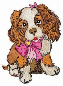 Spaniel puppy embroidery design