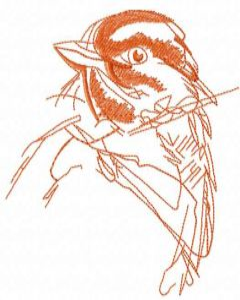 Sparrow sketch embroidery design