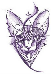 Sphynx cat geometric pattern embroidery design