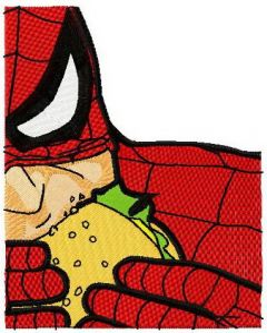 Spiderman eats burger embroidery design