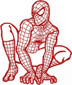 Spiderman ready to attack one colored embroidery design