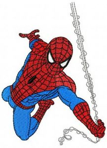 Spiderman rushes to rescue embroidery design