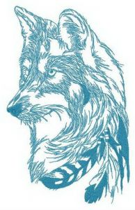 Spirit of forest wolf embroidery design