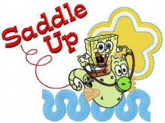 SpongeBob riding sea horse embroidery design
