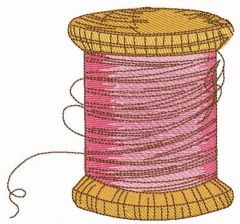 Spool of pink threads embroidery design