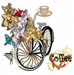 Spring bicycle embroidery design