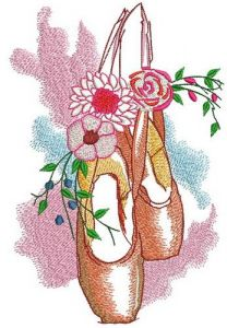Spring composition with pointes embroidery design