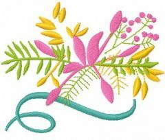 Spring pink flowers embroidery design