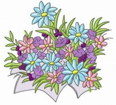 Spring flowers free embroidery design