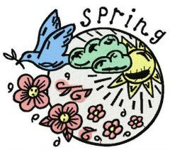 Spring machine embroidery design