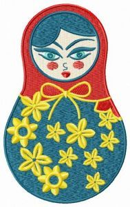 Spring matryoshka doll embroidery design