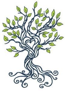 Spring tree of love embroidery design