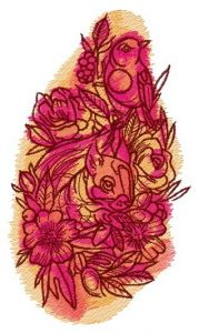 Squirrel and bird embroidery design