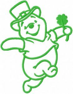 St patrick winnie pooh one colored embroidery design