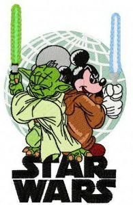 Star Wars Yoda vs Mickey embroidery design