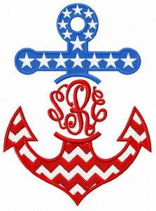 Stars and stripes anchor embroidery design