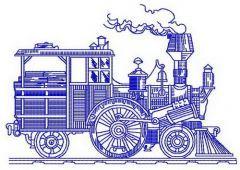 Steam engine machine embroidery design
