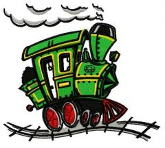 Steam locomotive embroidery design