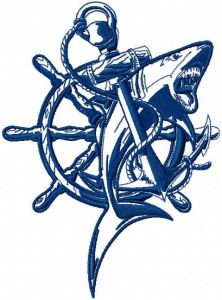 Wheel and wild shark embroidery design