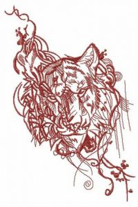 Stern look of tiger embroidery design