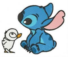Stitch and duckling embroidery design