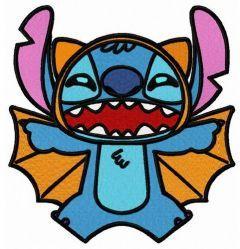 Stitch in bat costume embroidery design