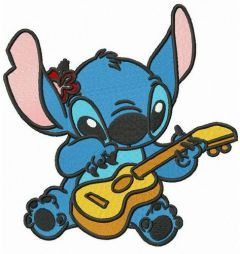 Stitch playing guitar embroidery design