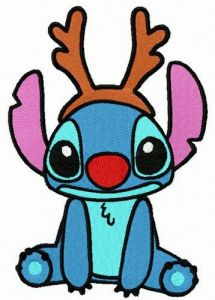 Stitch wears horns embroidery design