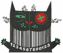 Barcode cat embroidery design