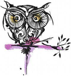 Strange owl 12 embroidery design