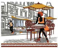 Street cafe embroidery design