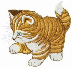 Striped kitten embroidery design