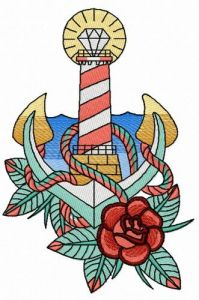 Striped lighthouse 2 embroidery design