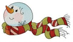 Striped scarf for snowman embroidery design