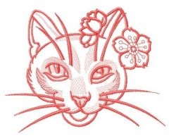 Stylish kitty one color embroidery design