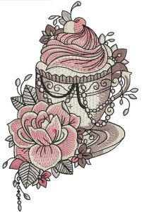 Summer coffee embroidery design
