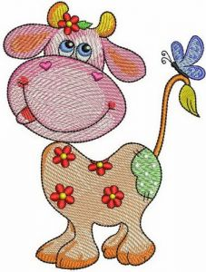 Summer cow embroidery design